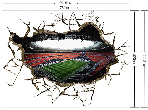 3D Mural Painting Home Wall Sticker Europe Decor background wallpaper Luxury soccer field by shopinmall (Image #1)