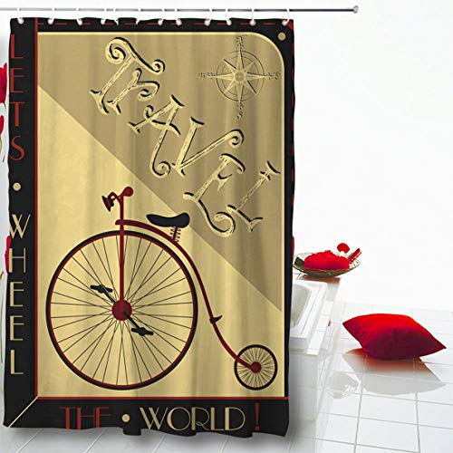 "Ahawoso Shower Curtain 72""x72"" Retro Red Here Www Com Ru Listing 495224312 Black High Wheel Bicycle Vintage Travel Postertravel Waterproof Polyester Fabric Home Decorative Barhroom Set with Hooks"