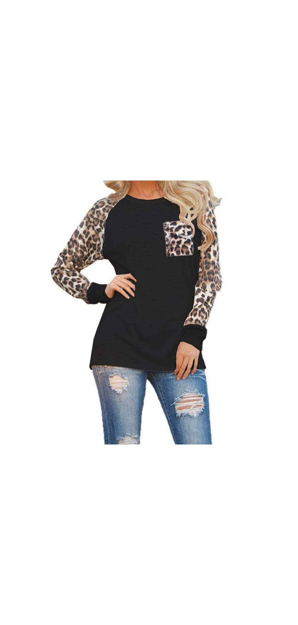 Woman Casual Tops Long Sleeve Leopard Print Patchwork Plus Size
