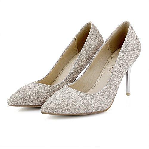 Amoonyfashion Damesslippers Op Spitse Gesloten Teen Spikes Stilettos Mix Materialen Pumps-schoenen Goud