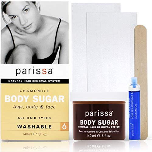 Parissa Chamomile Sugar Wax (Cold Wax), Waxing Kit for Hair Removal, Fabric strips, Spatulas & After-care Oil, 5 Fluid Ounce
