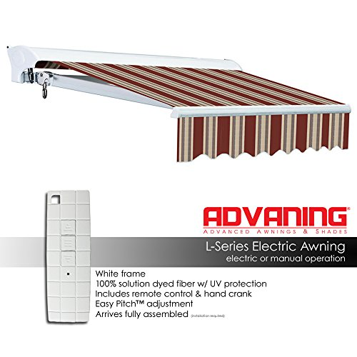 ADVANING Electric Luxury L Series, 14'x10', Semi-Cassette Top Quality Window/Door Cloth Cover Canopy Sun Shade Retractable Patio Awning, Brick Red with Sand Beige Stripes, Model: EA1410-A430H2 by ADVANING (Image #2)