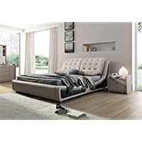Container Direct Olivia Collection Contemporary Faux Leather Upholstered Platform Bed With Tufted Headboard, Brown/Gray, California King