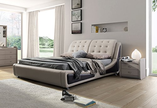 Container Direct Olivia Collection Contemporary Faux Leather Upholstered Platform Bed With Tufted Headboard, Brown/Gray, California King (Bedroom Contemporary Headboard)