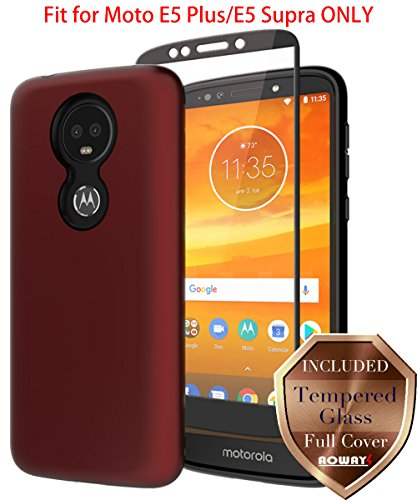 Aoways Moto E5 Plus Case, Moto E5 Supra Case Tempered Glass Screen Protector, Anti-Slip Hard Back Cover + Soft TPU Shockproof Inner Protective Case for Motorola Moto E5 Plus - Red