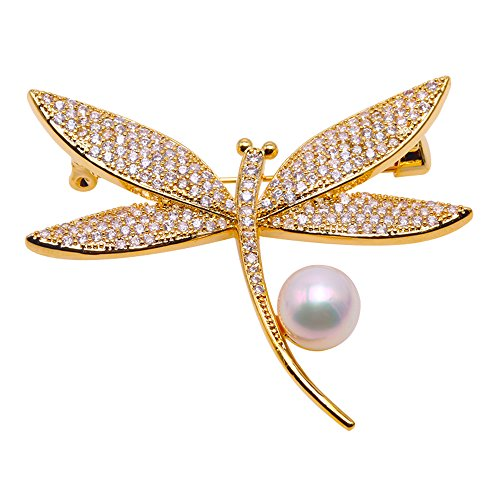 Beaded Dragonfly Pin (JYX Dragonfly-style Brooch White Freshwater Pearl Brooch Pin)