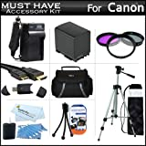 """Must Have Accessory Kit For Canon VIXIA HF M41, M40, M400 HD Camcorder Includes Extended (2100Mah) Replacement BP-819 Battery + Ac/Dc Travel Charger + Deluxe Case + Mini HDMI Cable + 50"""" Tripod w/Case + 3PC Filter Kit (UV-CPL-FLD) + USB SD Reader + More"""