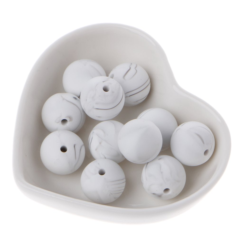 Dabixx 10 Pieces Silicone Beads 40# Marble White Silica Beads Baby Toy DIY Pacifier Chain Accessory 15MM