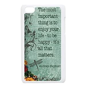 Audrey Hepburn Quote Personalized Cover Case with Hard Shell Protection for Ipod Touch 4 Case lxa#905206 by runtopwell
