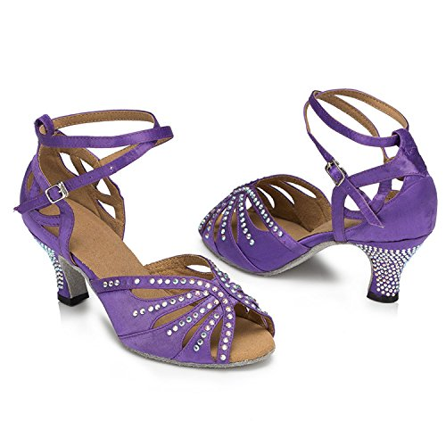 MINITOO Taogo UK Cross 3 Dance Latin Satin TH162 Crystals Ballroom Sandals Ladies Strap Wedding Purple RwUZxR
