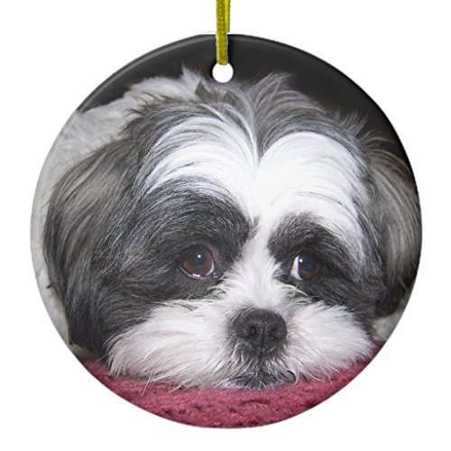 SheilaNelly Belle The Shih Tzu Dog Christmas Ornament Ceramic Circle 3 inch