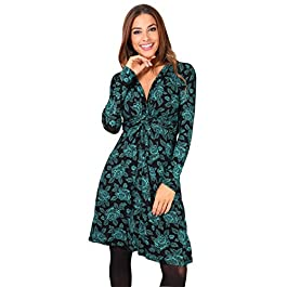Krisp Women Ruched Knot Front Long Sleeve V Neck Casual Party Dress