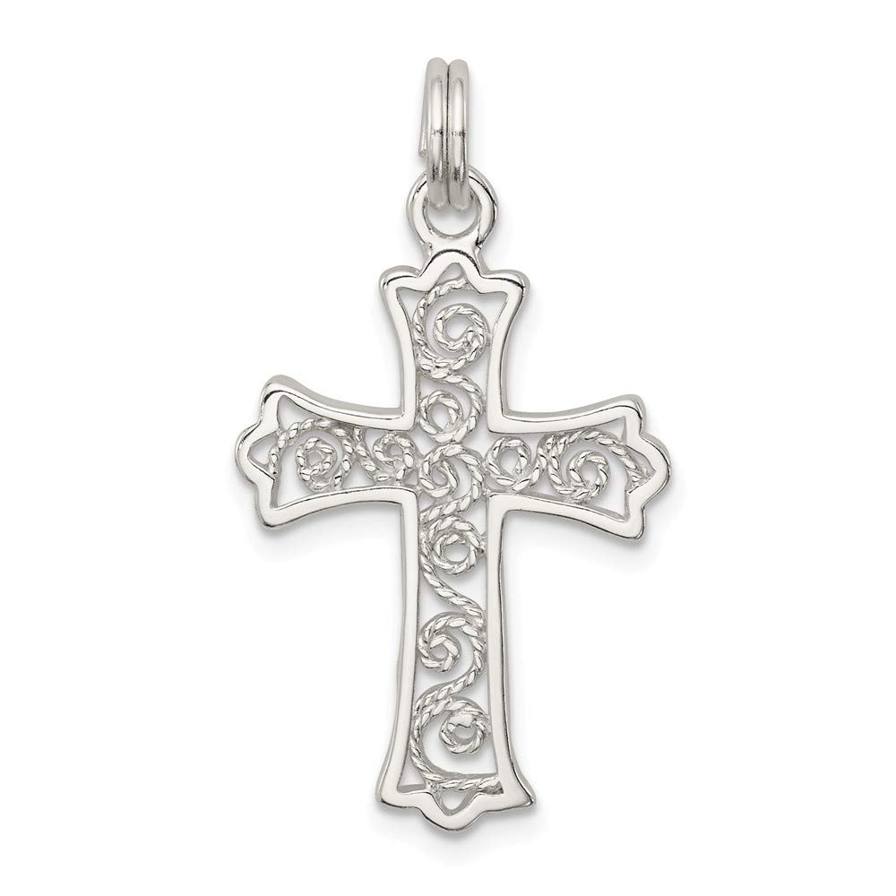 FB Jewels Solid 925 Sterling Silver Filigree Cro925 Sterling Silver Charm