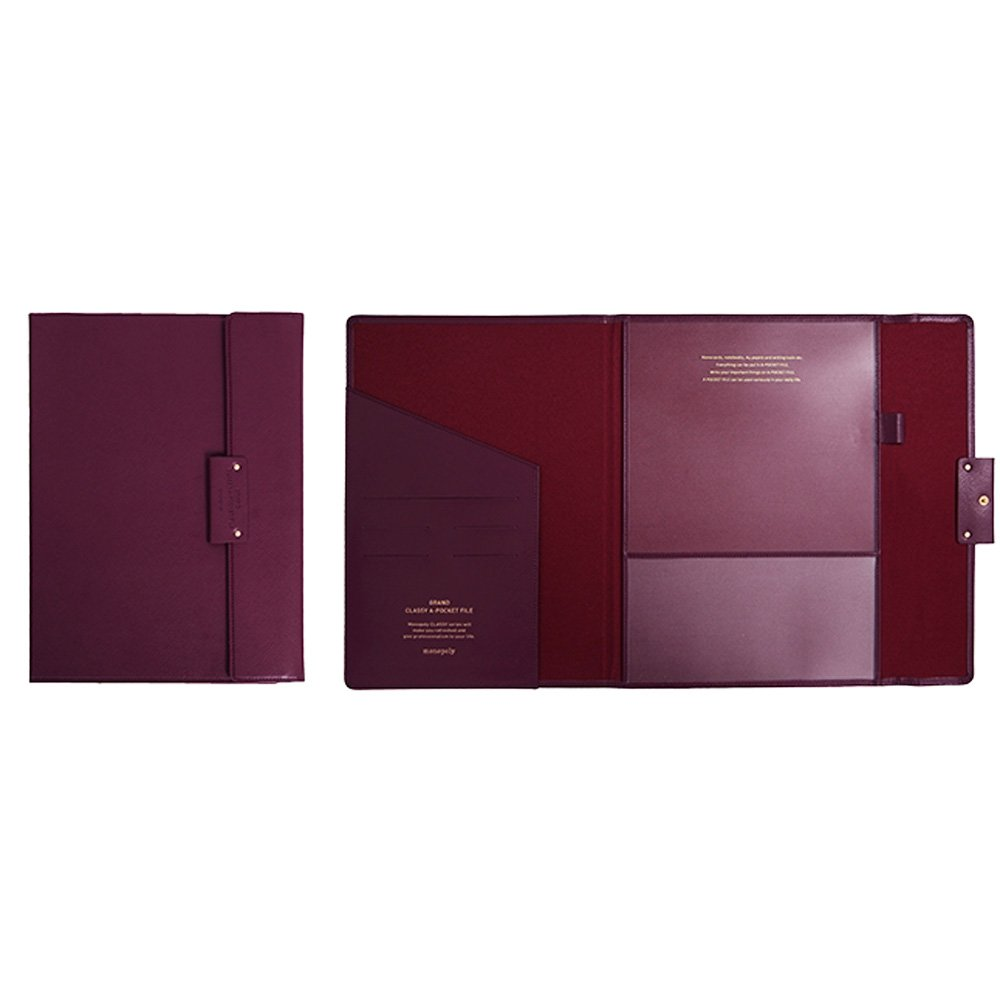 "Professional Portfolio Briefcase File Folder File Organizer with Flap-Top Snap Closure, Premium Quality File Envelope Folder, A4 Documents Holder, Padfolio 12.79""X9.25"" (Wine)"
