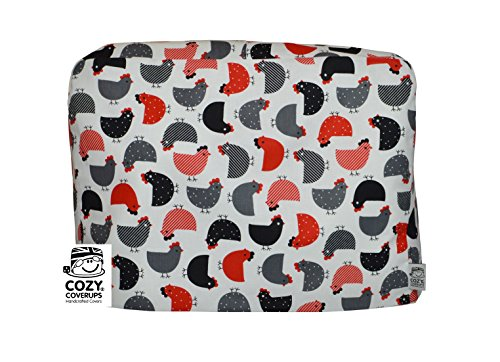 CozyCoverUp for Kitchenaid 5Quart Artisan Tilt Head Stand Mixer Dust Cover Black and Red Chickens on White Cotton, Handmade in the UK and fully lined by Cozycoverup