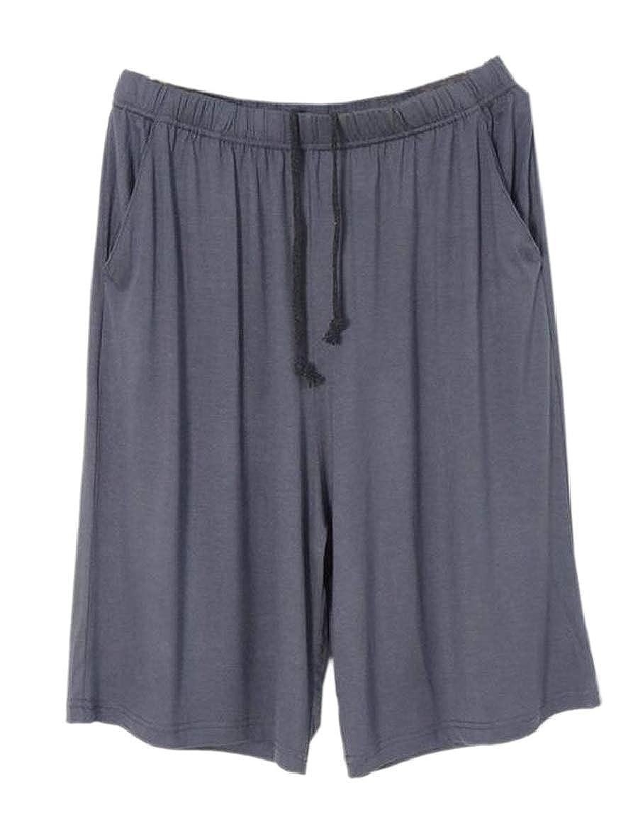 HTOOHTOOH Mens Lounge Elastic Waist Sleep Shorts Plus-Size Casual Shorts