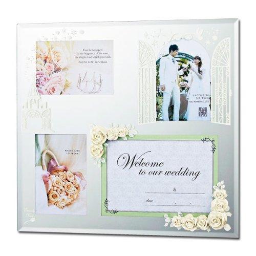 ウェディング 結婚祝い ギフト 写真立て エターナリーローズフォトフレーム 4ウィンドー ホワイト HF-04011 B008IGQQYM