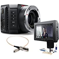 Blackmagic Design Micro Ultra HD Studio Camera 4K,Micro Four Thirds Mount - Bundle w/Video Assist with HDMI and 6G-SDI Recorder, 5in Monitor, BNC Female to DIN 1.0/2.3 RG-179 Cable 1, Cleaning Kit
