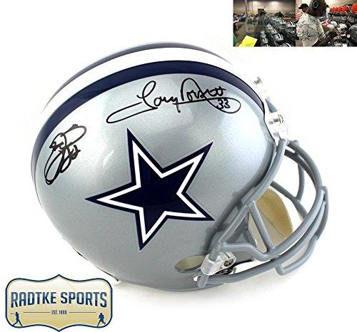 Tony Dorsett & Emmitt Smith Autographed/Signed Dallas Cowboys Riddell Full Size NFL Helmet ()