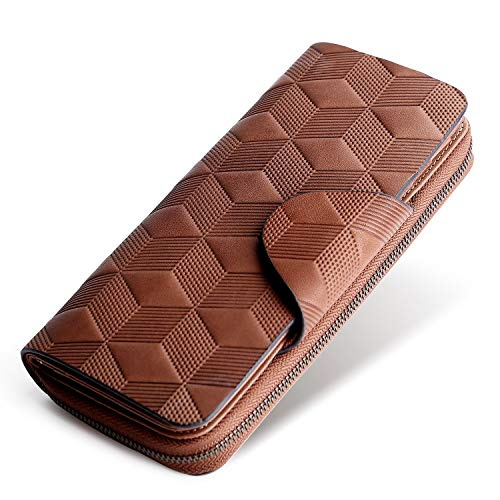 (Yafeige Large Luxury Women's RFID Blocking Tri-fold Leather Wallet Zipper Ladies Clutch Purse(Coffee Square lattice))
