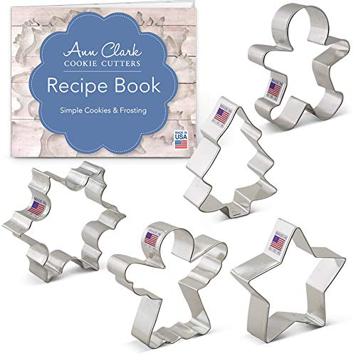 Ann Clark Cookie Cutters 5-Piece Christmas and Holiday Cookie Cutter Set with Recipe Booklet, Snowflake, Star, Christmas Tree, Gingerbread Man and Angel - Ann Clark Cookie Cutters - USA Made Steel