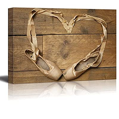 A Pair of Ballet Slippers with Ribbon in The Shape of a Heart Wall Decor