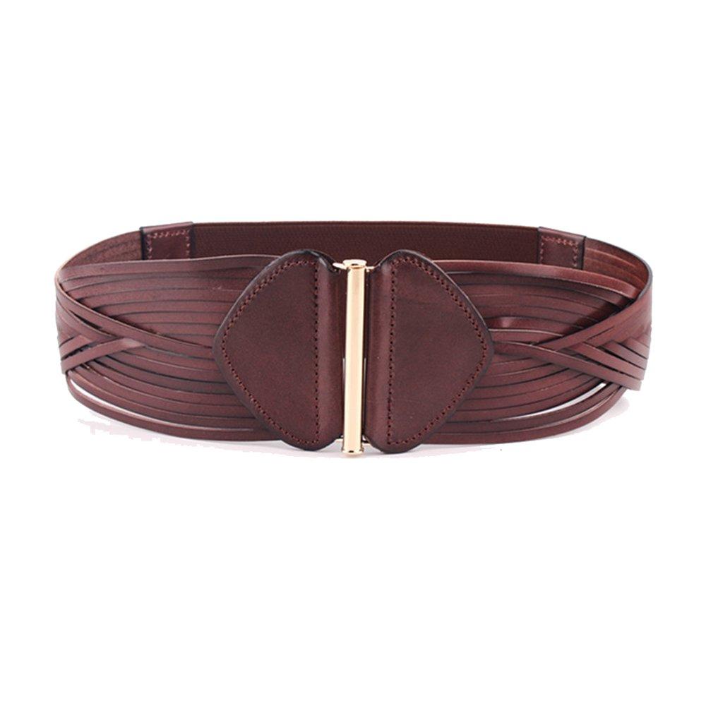 Vintage 100% Cowhide Leather Girdle Wide Waist Belts Retro Wave Design