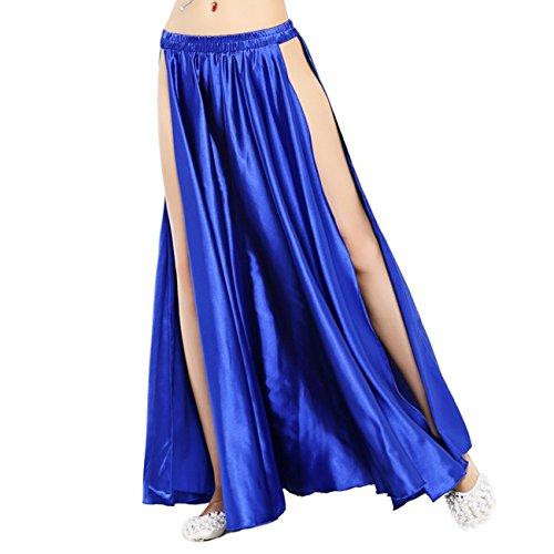 Dance Fairy Satin High Split Midi Skirt(no Belt),Royal Blue (Cabaret Outfits)