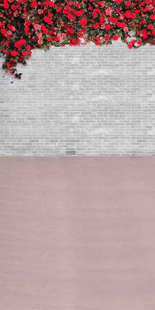 GladsBuy赤い花onレンガ壁10 ' x 20 'コンピュータ印刷写真バックドロップ背景テクスチャテーマhy-cm-2853   B00F35IXKG