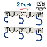 WEBI Broom Mop Holder, Sturdy Stainless Steel Cleaning Tool Organizer Hanger Rack with 2 Fixed Hook/3 S Hook for Kitchen Garage Garden,2 Pack