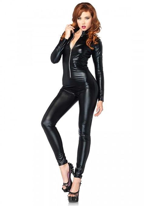 b7861421f29 shoperama Wetlook Catsuit de Leg Avenue Mujer Disfraz de Agente de policía  Gato Catwoman Charol.