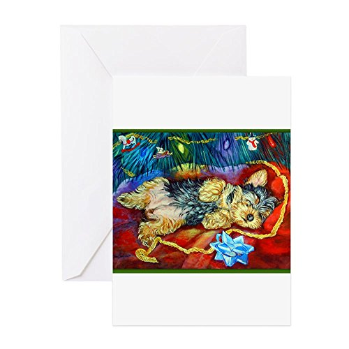 CafePress Yorkie Santa Dreams Christmas Cards (Pk Of 10) Gre Greeting Card (20-pack), Note Card with Blank Inside, Birthday Card Glossy