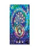 Lunarable Mandala Wall Art, Tree of Life Floral Style Mandala Spiritual Artwork Meditation Peace Spa Design, Gloss Aluminium Modern Metal Artwork for Wall Decor, 11.6 W X 23.5 L Inches, Blue Purple