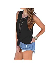 UOKNICE Blouses for Womens, Casual Summer Sleeveless V Neck Lace Up Criss Cross Cami Tank Pullovers T-Shirts Tees Tops
