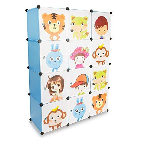 VENKON - Kinderzimmer Steckschrank DYI Steckregal System Regalschrank: 12-Module-Set, blau