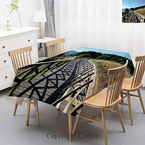 (Print Series Rectangle Tablecloth Cotton and Linen Dust proof Absorption Table Cover for Photography Background Dining,55x79 Inch,Beach,Wooden Pathway by Sea Bridge Placid Quiet Alone Time Plants Tree)