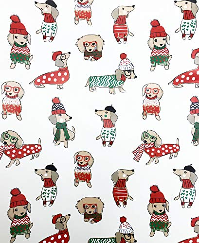 ay Dachshund in Winter Attire Christmas Gift Wrapping Paper 3.3' x 12' ()