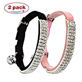 CHUKCHI Soft Velvet Safe Cat Adjustable Collar Bling Diamante With Bells,2 Pcs Black+pink