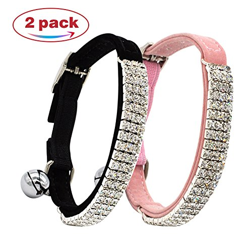 CHUKCHI Soft Velvet Safe Cat Adjustable Collar Bling Diamante With Bells,2 Pcs Black+pink