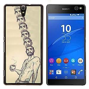 "For Sony Xperia C5 Ultra Case , Retrato Café Sin camisa hombre Barba caliente"" - Diseño Patrón Teléfono Caso Cubierta Case Bumper Duro Protección Case Cover Funda"