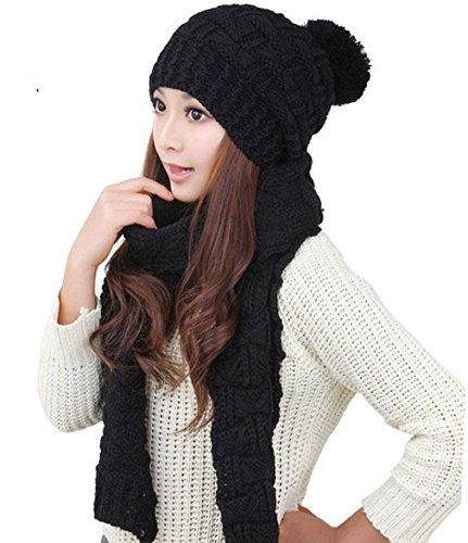 Acvip Noir Ensemble Femme Echarpe Couleurs Tricoté Mode Bonnet Hiver Et 8 Chaud 1q7PE1rw