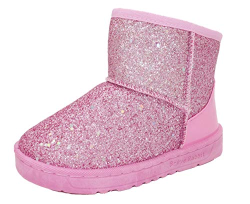 Elcssuy Girl's Warm Winter Sequin Waterpoof Outdoor Princess Snow Boots House Slippers Flat Shoes(Toddler/Little Kid) P29 Pink -