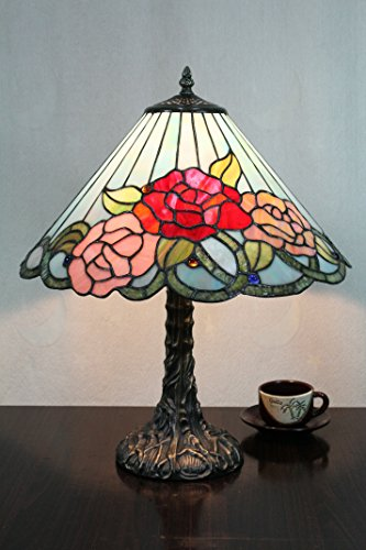 ETERN 12-Inch Vintage Pastoral Gorgeous Flowers Stained Glass Table Lamp Bedroom Lamp Bedside - Renaissance Style Lamp Table