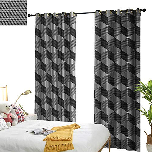 WinfreyDecor Insulated Sunshade Curtain Black and White Monochrome Cube Composition with Abstract 3D Design Optical Illusion Darkening and Thermal Insulating W96 x L108 Black and White