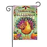 KissDate Double Sided Colorful Turkey Pumpkin Floral Thanksgiving Garden Flag, Perfect for Outdoor Garden Yard Decoration (12.5″ x 18″) For Sale