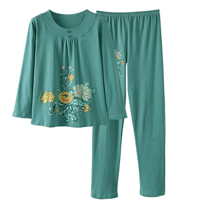 Meaeo Pigiama Sciolto in Cotone A Maniche Lunghe Pigiami da Donna Abbigliamento  da Notte Pigiami Vestiti da Notte Homewear  Amazon.it  Abbigliamento 7b8e8ebb626