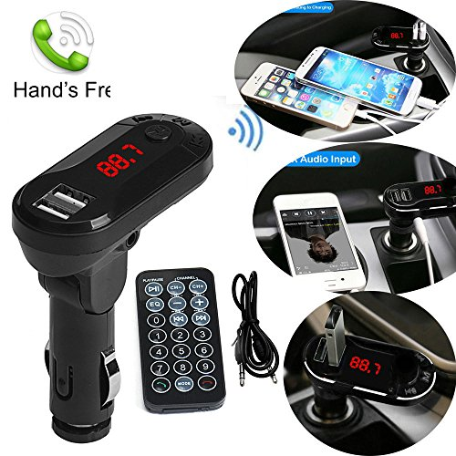 FM Transmitter, Sandistore Bluetooth Car Adapter, Wireless Bluetooth Handsfree Car Kit FM Transmitter MP3 Player Handsfree Car Kit USB TF SD Remote Black by Sandistore Sport (Image #4)