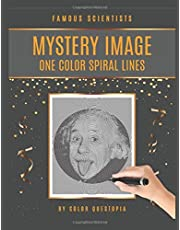 Famous Scientists Mystery Image One Color Spiral Lines: Adult Coloring Book For Relaxation And Stress Relief