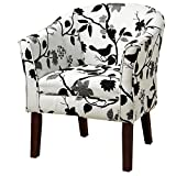 Upholstered Accent Chair Black and White For Sale