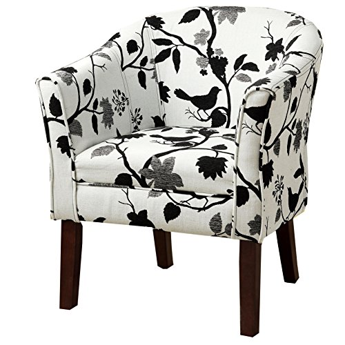 Asian Living Room Chair - Upholstered Accent Chair Black and White